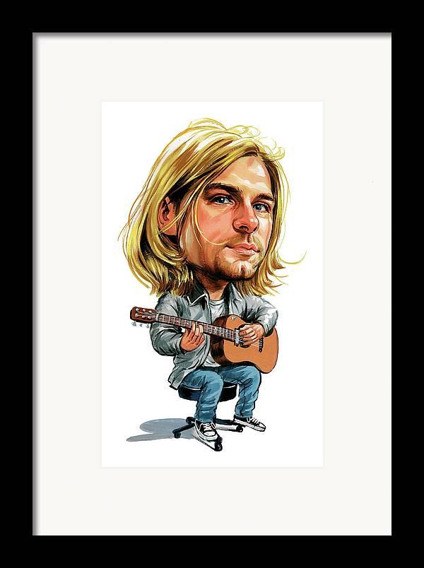 Kurt Cobain Framed Print featuring the painting Kurt Cobain by Art