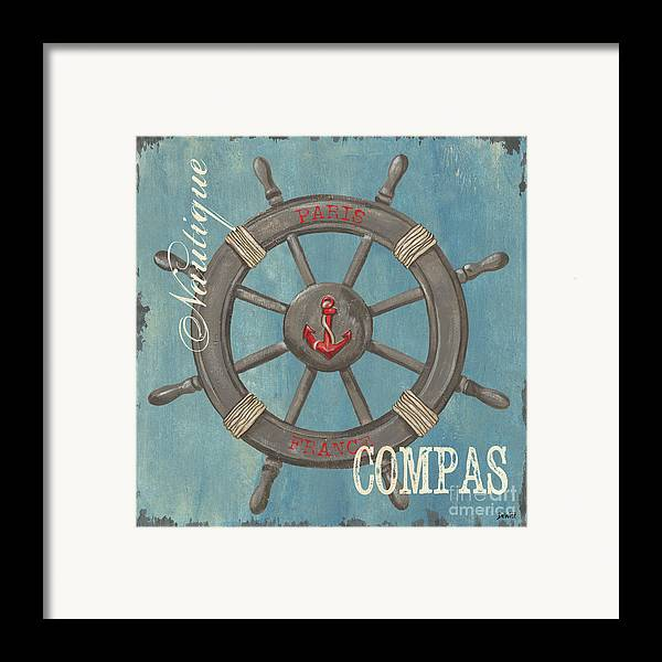 Coastal Framed Print featuring the painting La Mer Compas by Debbie DeWitt