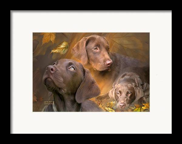 Labrador Retriever Framed Print featuring the mixed media Lab In Autumn by Carol Cavalaris