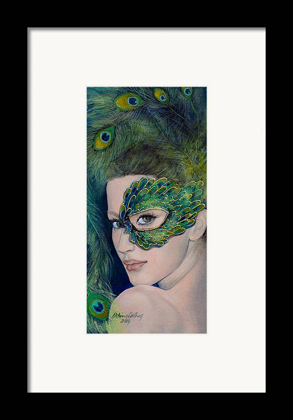 Art Framed Print featuring the painting Lady Peacock by Dorina Costras