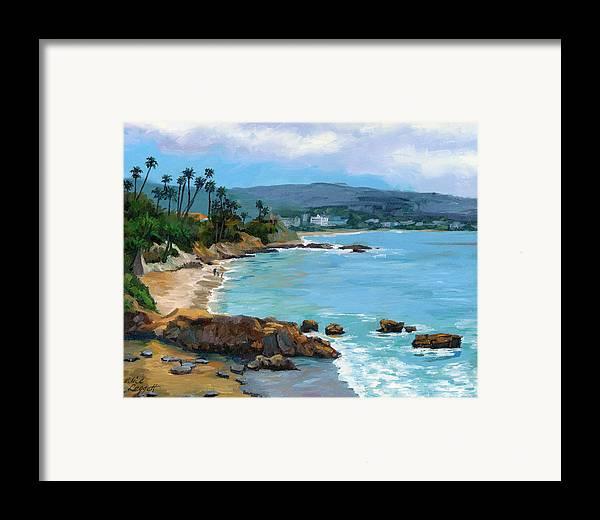 Laguna Beach Framed Print featuring the painting Laguna Beach Winter by Alice Leggett