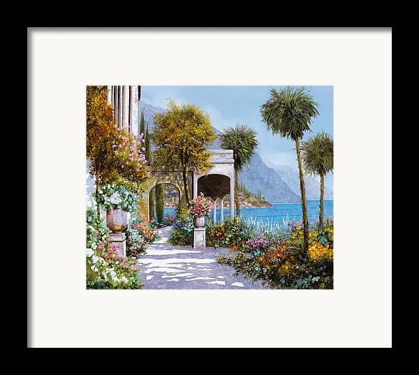 Lake Framed Print featuring the painting Lake Como-la Passeggiata Al Lago by Guido Borelli