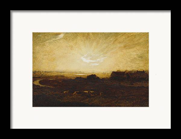 Sun Framed Print featuring the painting Landscape At Sunset by Marie Auguste Emile Rene Menard