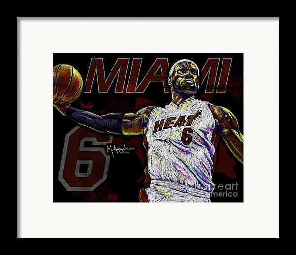Lebron Framed Print featuring the drawing Lebron James by Maria Arango