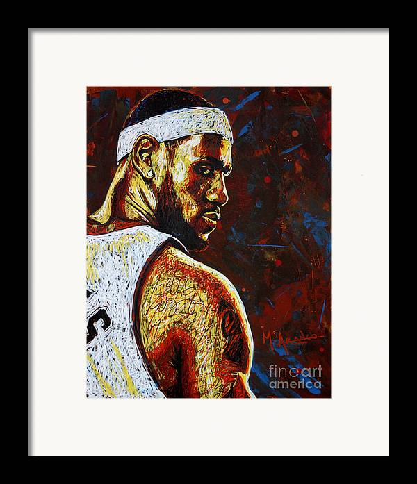 Lebron Framed Print featuring the painting Lebron by Maria Arango