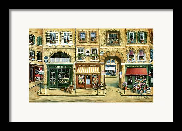 Wine Shop Framed Print featuring the painting Les Rues De Paris by Marilyn Dunlap