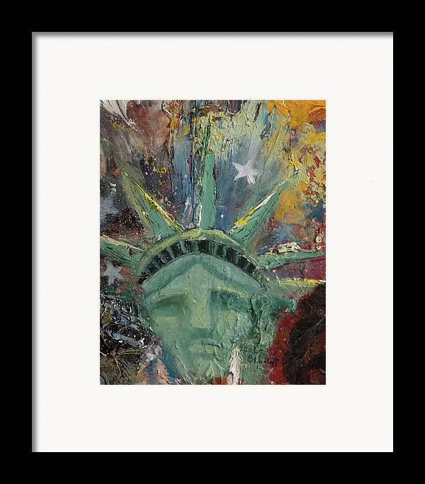 Lady Liberty Framed Print featuring the painting Liberty Breaking Out by Trish Bilich