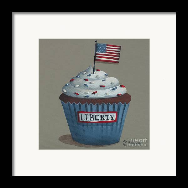 Art Framed Print featuring the painting Liberty Cupcake by Catherine Holman