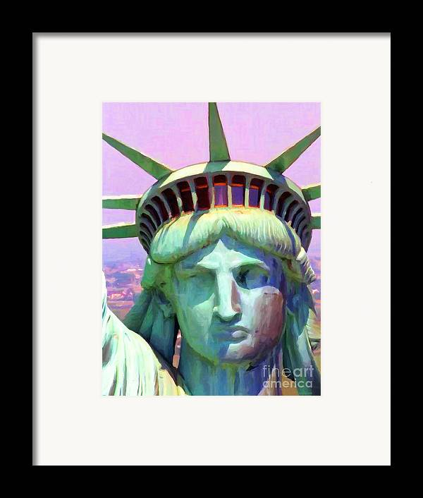 Patriotic Framed Print featuring the photograph Liberty Head Painterly 20130618 by Wingsdomain Art and Photography
