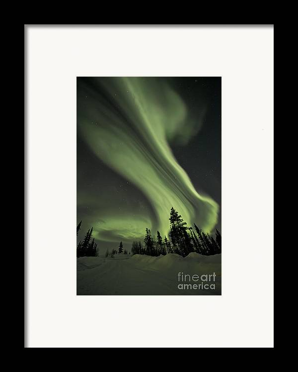 Aurora Borealis Framed Print featuring the photograph Light Swirls Over The Midnight Dome by Priska Wettstein