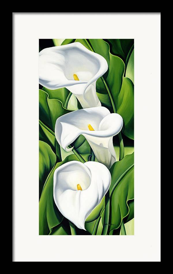 Lilies Framed Print featuring the painting Lilies by Catherine Abel