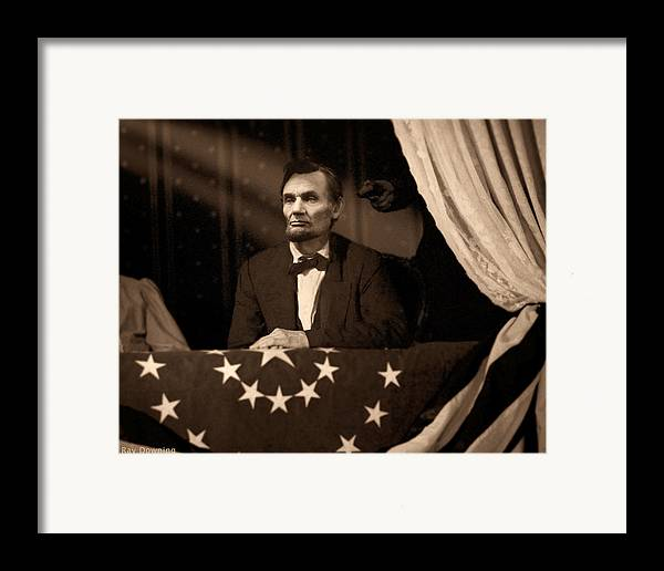 Abraham Lincoln Framed Print featuring the digital art Lincoln At Fords Theater by Ray Downing