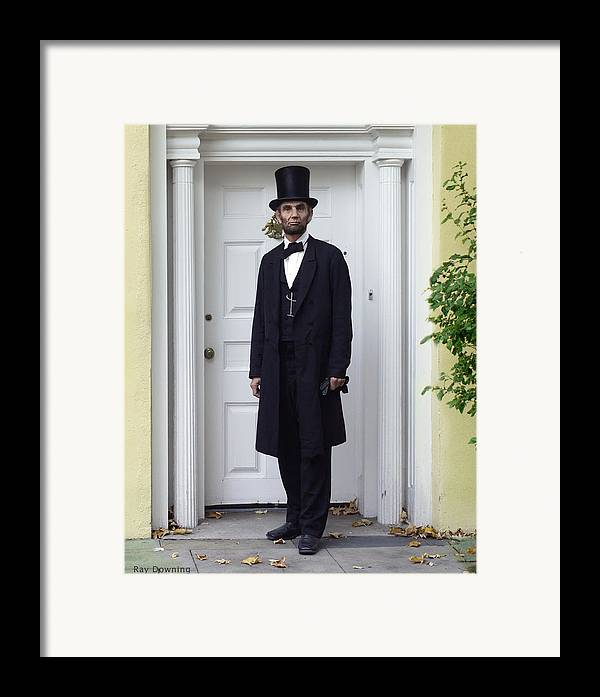 Abraham Lincoln Framed Print featuring the digital art Lincoln Leaving A Building 2 by Ray Downing