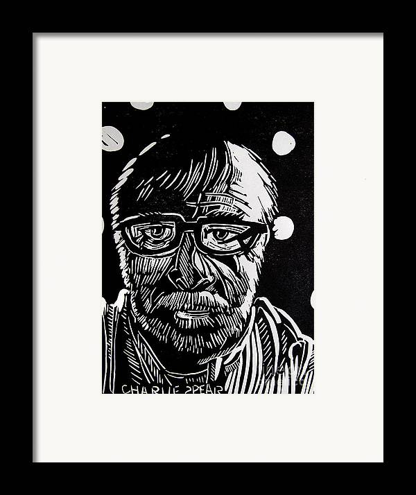 Auto-portrait Framed Print featuring the relief Lino Cut Charlie Spear by Charlie Spear