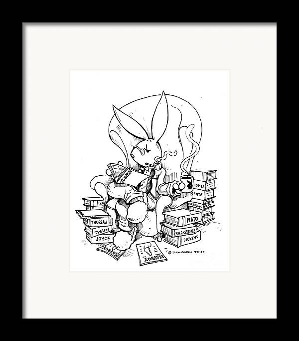 Playboy Framed Print featuring the drawing Literary Playboy by John Ashton Golden