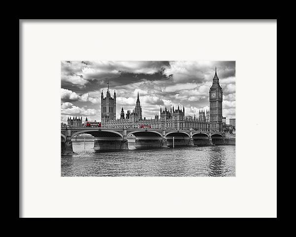 British Framed Print featuring the photograph London - Houses Of Parliament And Red Buses by Melanie Viola