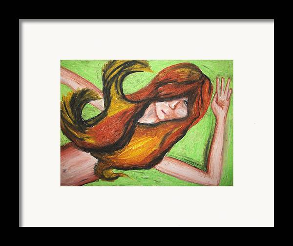Girl Framed Print featuring the pastel Lost by Jake Huenink