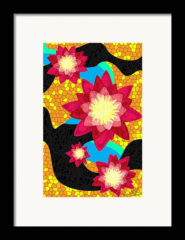 Lotus Flower Bombs Framed Print featuring the drawing Lotus Flower Bombs In Magenta by Kenal Louis