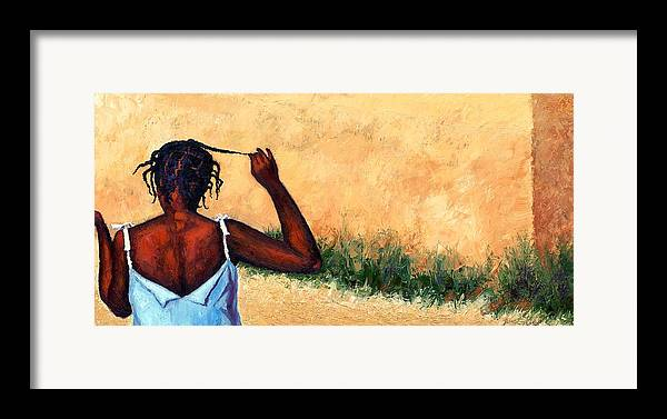 Haiti Painting Framed Print featuring the painting Lucie In Haiti by Janet King