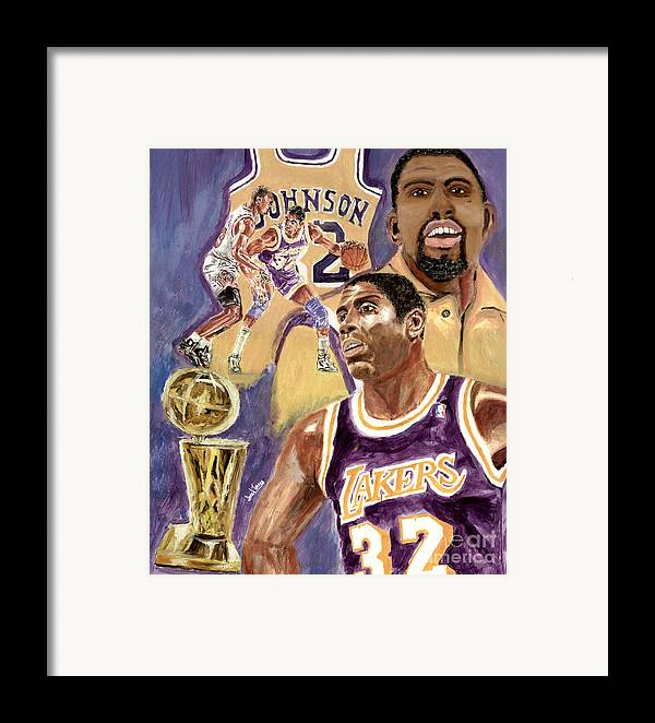 Magic Johnson Framed Print featuring the painting Magic Johnson by Israel Torres