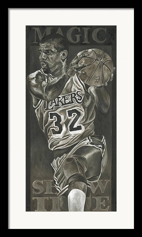 Magic Johnson Framed Print featuring the painting Magic Johnson - Legends Series by David Courson