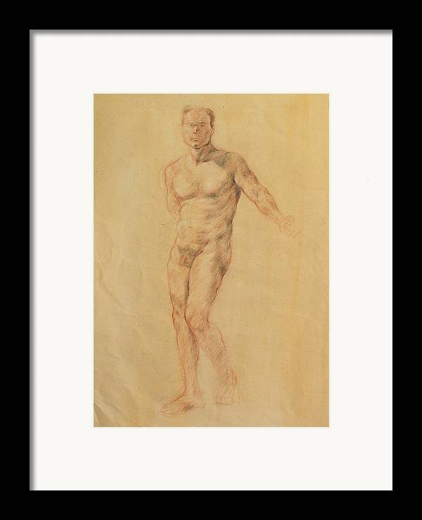 Drawing Framed Print featuring the drawing Male Nude 2 by Becky Kim