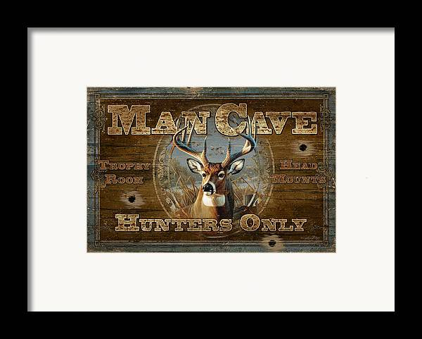 Cynthie Fisher Framed Print featuring the painting Man Cave Deer by JQ Licensing