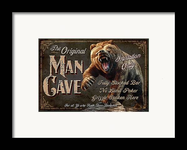 Jeff Wack Framed Print featuring the painting Man Cave Grizzly by JQ Licensing