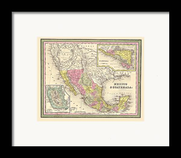 Vintage Framed Print featuring the digital art Map Of Mexico by Gary Grayson