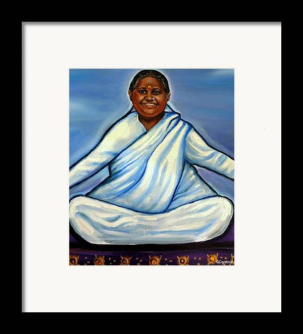Amma Framed Print featuring the painting Mata Amritanandamayi by Carmen Cordova