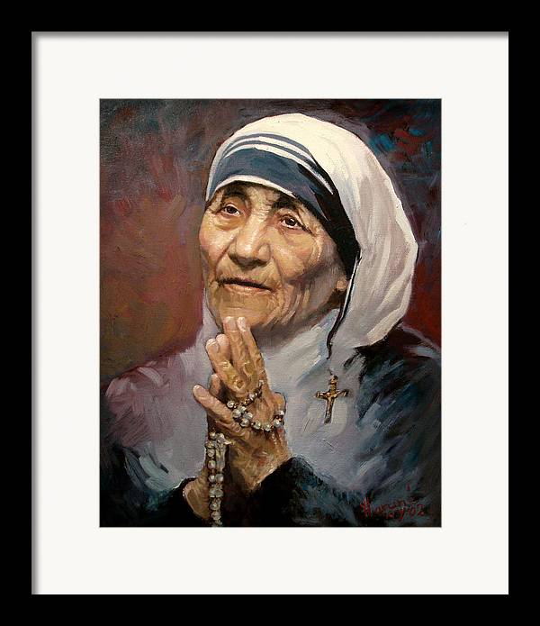 Mother Teresa Artwork Framed Print featuring the painting Mather Teresa by Ylli Haruni