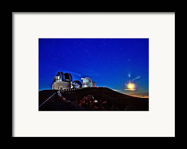 Hawaii Framed Print featuring the photograph Mauna Kea At Moon Rise by Bob Kinnison
