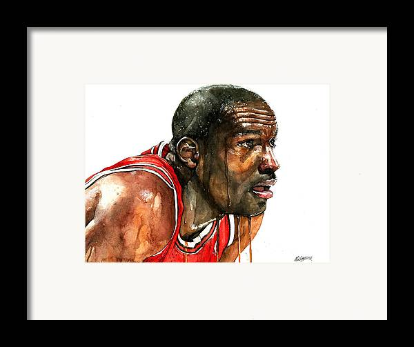 Michael Framed Print featuring the painting Michael Jordan Early Days by Michael Pattison