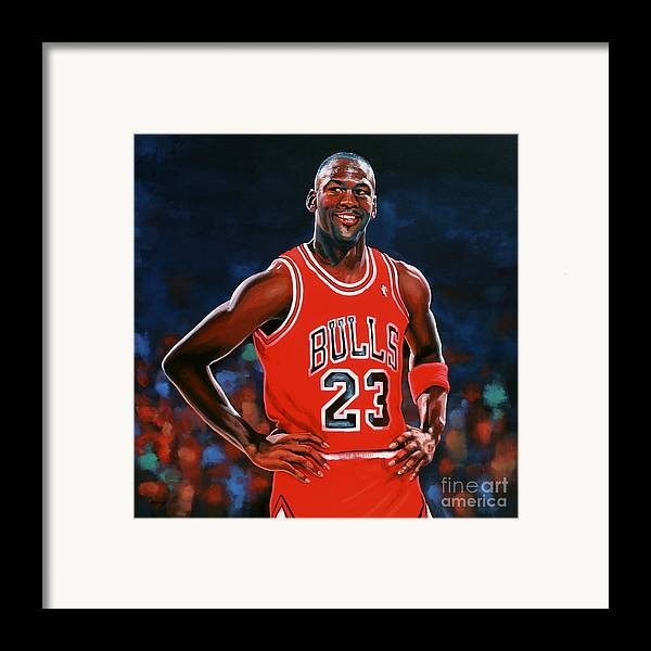 Michael Jordan Framed Print featuring the painting Michael Jordan by Paul Meijering