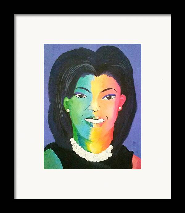 Michelle Obama Framed Print featuring the painting Michelle Obama Color Effect by Kendya Battle
