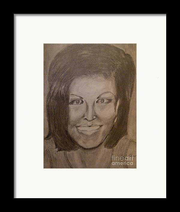 Michelle Obama President First Lady Black Woman History Politics Washington White House Heroin Portrait Ebony Civil Rights Smile Role Image Modern Politics United States Democrat Framed Print featuring the drawing Michelle Obama by Irving Starr