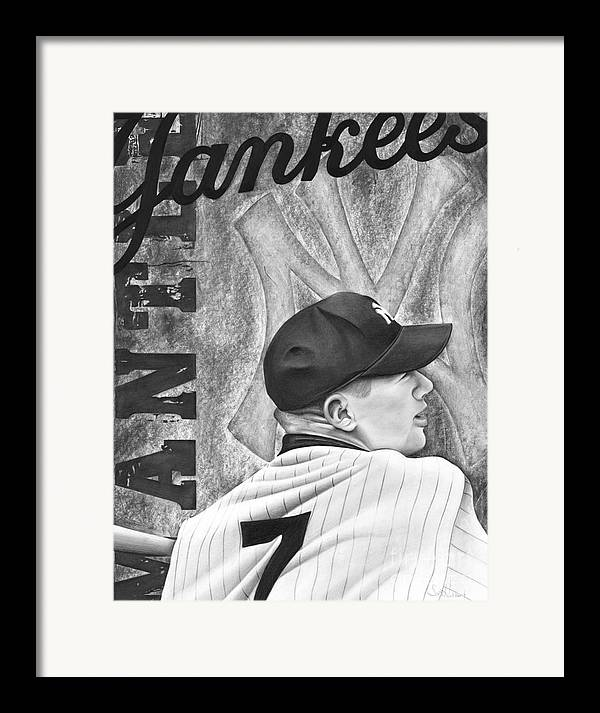 New York Yankees Framed Print featuring the drawing Mickey Mantle by Scott Hubbert