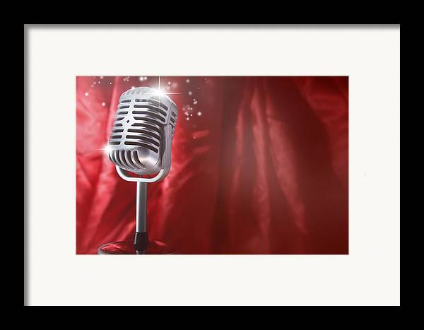 Audio Framed Print featuring the photograph Microphone by Les Cunliffe