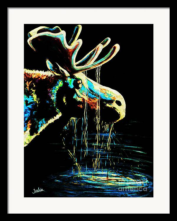 Moose Framed Print featuring the painting Midnight Moose Drool by Teshia Art