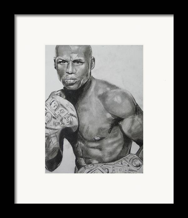 Floyd Mayweather Framed Print featuring the drawing Money Mayweather by Aaron Balderas