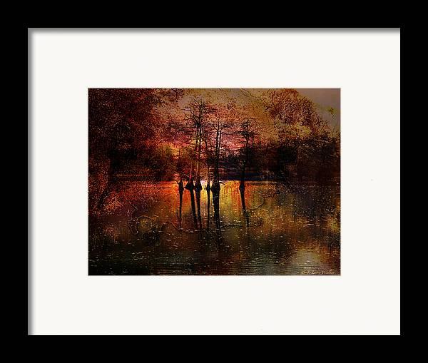 J Larry Walker Framed Print featuring the digital art Moon Setting Over Reelfoot Lake by J Larry Walker