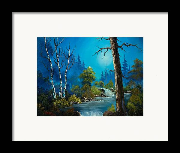 Landscape Framed Print featuring the painting Moonlight Stream by C Steele