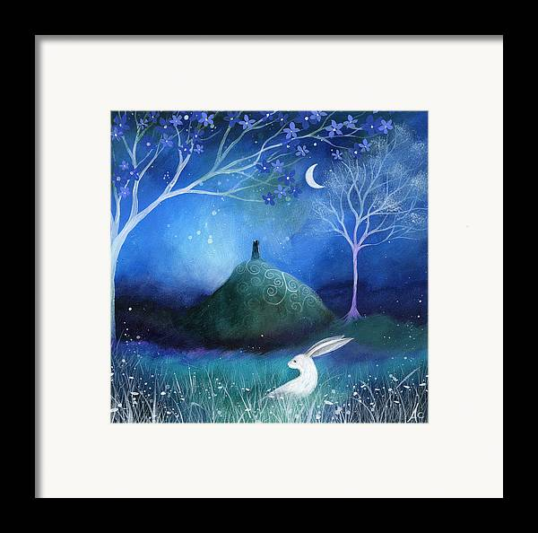 Landscape Framed Print featuring the painting Moonlite And Hare by Amanda Clark