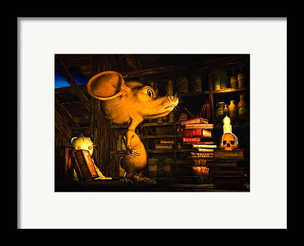 Attic Framed Print featuring the painting Mouse In The Attic by Bob Orsillo