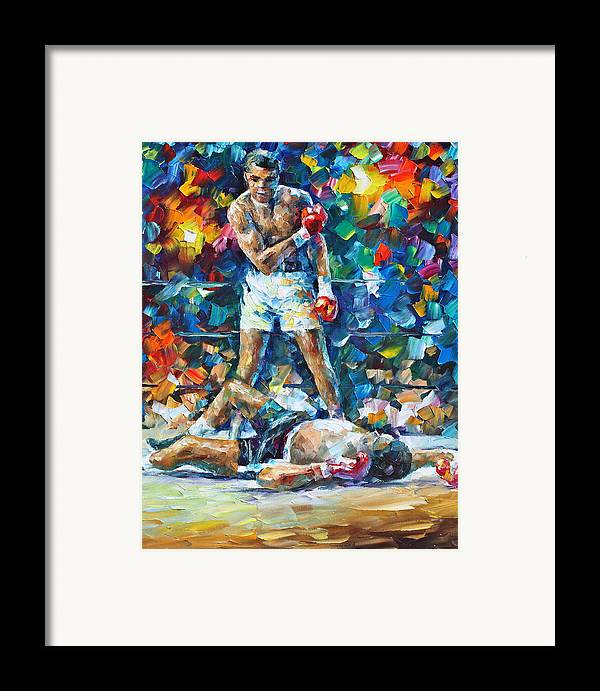 Box Framed Print featuring the painting Muhammad Ali by Leonid Afremov