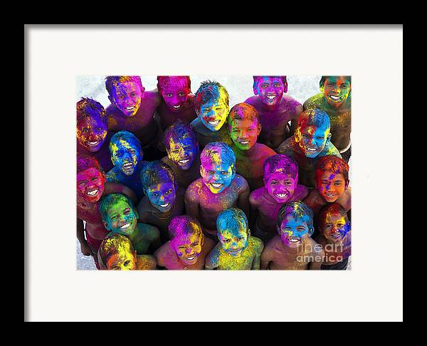 Indian Boys Framed Print featuring the photograph Multicoloured Happy Faces by Tim Gainey