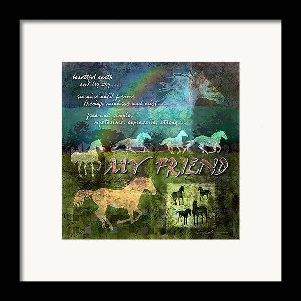 Horse Framed Print featuring the digital art My Friend Horses by Evie Cook