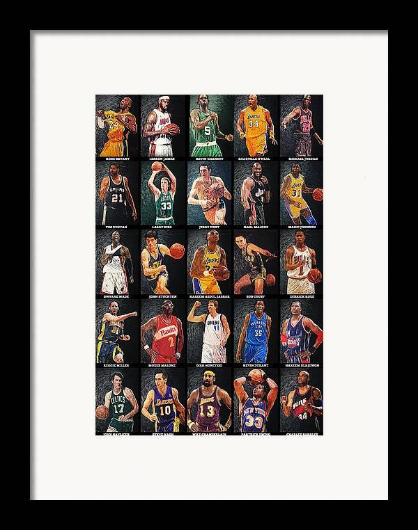 Nba Framed Print featuring the digital art Nba Legends by Taylan Soyturk