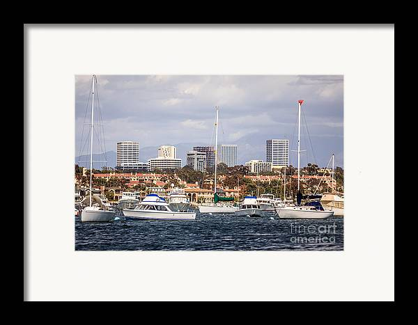America Framed Print featuring the photograph Newport Beach Skyline by Paul Velgos
