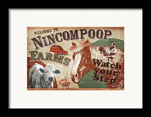 Joe Low Framed Print featuring the painting Nincompoop Farms by JQ Licensing